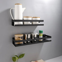 Load image into Gallery viewer, Industrial Design Stainless Steel Kitchen Shelf Racking For Storing Pots Jars Tea Coffee Spices etc Modern Aesthetics In Matt Black Or Brushed Silver 4 Sizes