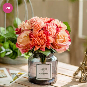 Luxurious Floral Bouquet In Glass Vase Modern Ornamental Artificial Flowers Stylish Home Furnishing Tabletop Decorations