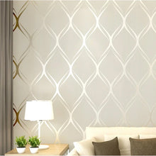 Load image into Gallery viewer, Luxury Shimmer Pattern Modern Wallpaper In White Grey Beige Contemporary Designer Home Decor For Bedroom / Living Room
