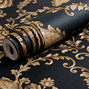 Luxury Embossed Black & Gold Damask Wallpaper Patterned Texture 3D Metallic Vinyl Wall Covering Opulent Interior Decor