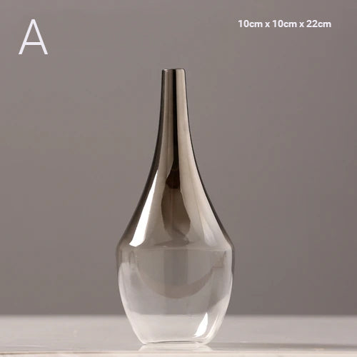 Luxury Silver Gradient Glass Vase Desktop Terrarium For Flowers Vases For Dried Flower Display Cute Tabletop Decoration For Living Room Home Decor