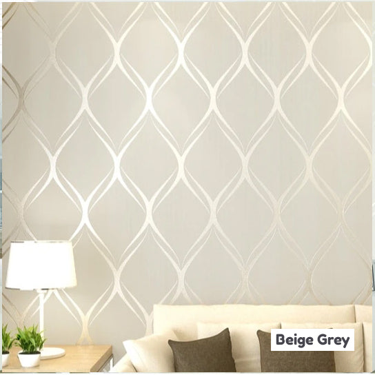 Luxury Shimmer Pattern Modern Wallpaper In White Grey Beige Contemporary Designer Home Decor For Bedroom / Living Room