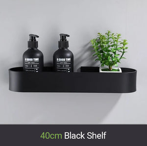 Matt Black Storage Shelf For Bathroom Or Kitchen Strong Modern Design Rigid Lightweight Space Aluminum With Optional Towel Rack No Drilling Required