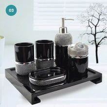 Load image into Gallery viewer, Modern Bathroom Accessories Kit Finished In Black Or White Resin Soap Dispenser Gargle Cup Toothbrush Holder Stylish Washroom Hardware Modern Bathroom Decor