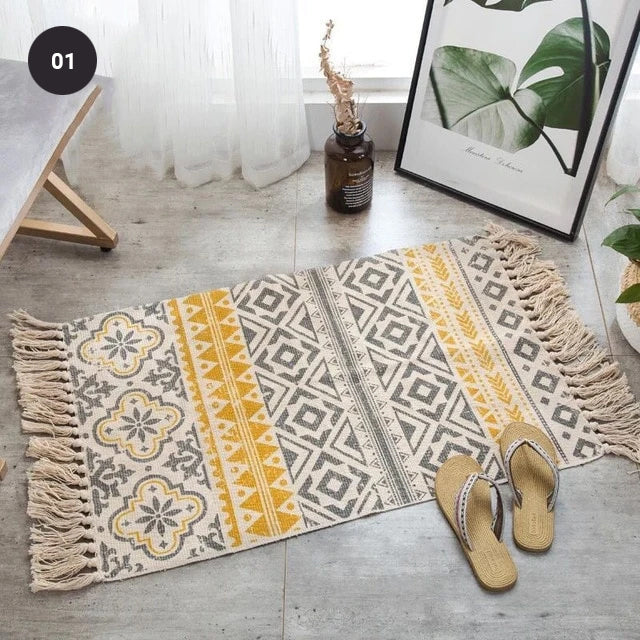 Modern Bohemian Carpet Rugs For Bedroom Living Room Area Mats Hand Woven Cotton Linen Tassel Floor Mat Bedside Rug Geometric Carpet 60x90cm