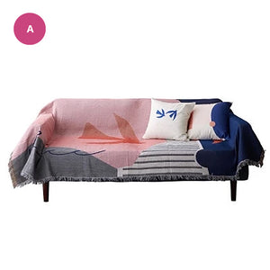 Modern Colorful Abstract Tapestry Sofa Throw Soft Knitted Sofa Blanket Chair Cover Bedspread For Bedroom Living Room Sofa Cover