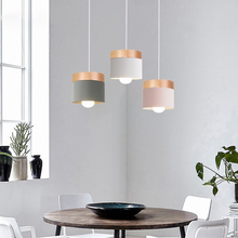 Load image into Gallery viewer, Modern Nordic Style LED Pendant Lighting Fixtures Wood Iron Designer Hanging Lamps For Living Room Dining Room Cafe Lighting
