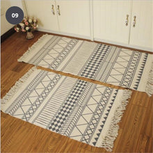 Load image into Gallery viewer, Natural Color Cotton Aztec Rug Soft Tassel Carpet Mat For Living Room Dining Room Carpet Door Mat Simple Nordic Style Decor