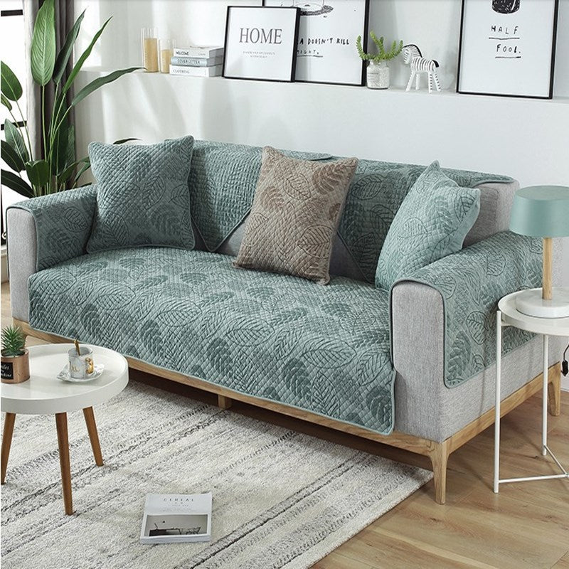 Nordic Living Room Sofa Cover Stylish Modern Furniture Covering Soft Quilted Jacquard For Armrests Cushion Cotton Couch Cover For Sofa in 2 Colors