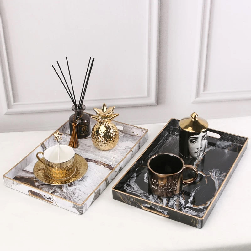 Nordic Style Decor Marble Serving Tray For Teacups Flowerpot Jewelry T House Boutique