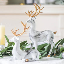 Load image into Gallery viewer, Nordic Style Marble Deer With Golden Antlers Ornamental Resin Crafted Figurines For Coffee Table Windowsill Fireplace Mantelpiece Modern Home Decor