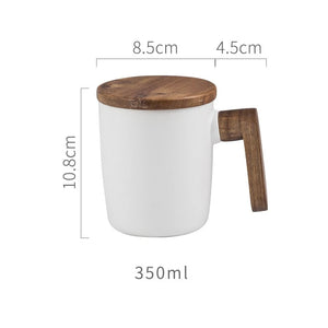 Nordic Coffee Cup Ceramic With Wooden Handle + Cover Scandinavian Retro Design Coffee Mug Gift Box Set For Coffee Lovers