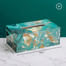 Load image into Gallery viewer, Nordic Home Decorative Tissue Box Rigid Acrylic Marble Geometric Art Deco Design Stylish Dinner Table Desktop Tissue Case For Dispensing Napkins