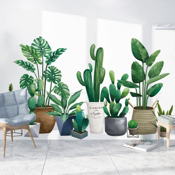 Nordic Style House Plants Wall Decal Self Adhesive DIY Wall Sticker Cactus Monstera Palms Green Leaves Wall Decor For Kitchen Living Room