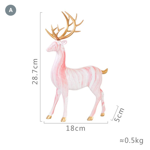 Nordic Style Marble Deer With Golden Antlers Ornamental Resin Crafted Figurines For Coffee Table Windowsill Fireplace Mantelpiece Modern Home Decor