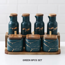 Load image into Gallery viewer, Nordic Style Marble Patterned Ceramic Kitchen Storage Jars Serving Pots With Wooden Lid Creative Stylish Kitchen Accessories Modern Home Decor