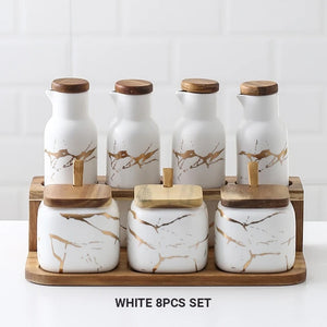 Nordic Style Marble Patterned Ceramic Kitchen Storage Jars Serving Pots With Wooden Lid Creative Stylish Kitchen Accessories Modern Home Decor