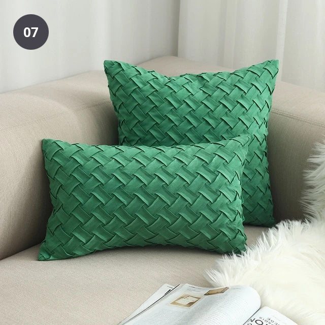 Nordic Style Woven Cushion Cover Square 45x45cm Rustic Colors Plain Dyed Solid Color Wovern Plain Fabric Suede Cushion For Sofa