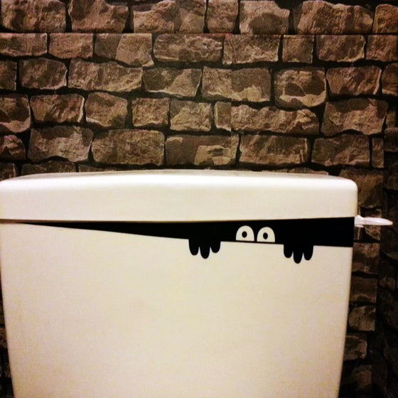 Peeping Toilet Monster Vinyl Decal Removable Sticker Hilarious Creepy Eyes Lurking In Your Toilet Humorous Funny Face Decal