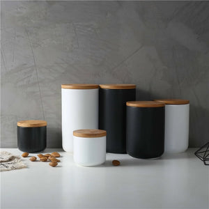 Stylish Nordic Minimalist Sealed Ceramic Storage Jars For Tea Coffee Spices etc Containers With Lids For Kitchen Foodstuffs Tea Caddy