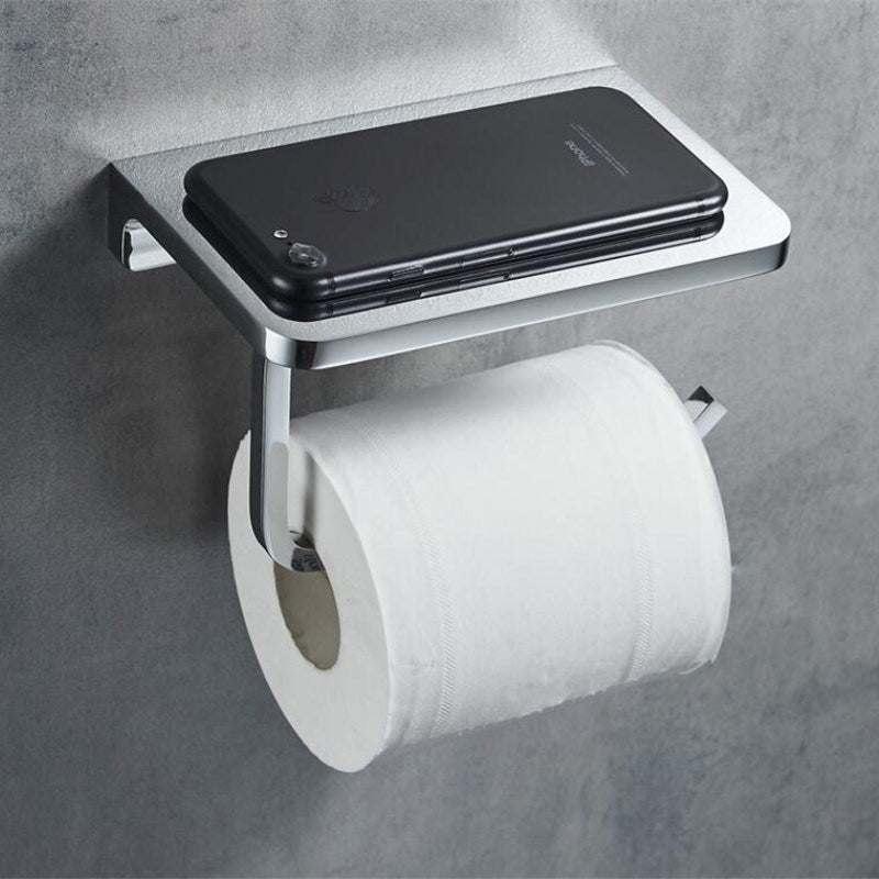 Wall Mounted Luxury Toilet Roll Holder With Handy Phone Shelf Glossy Silver Electroplated Brass Loo Roll Rack Bathroom Fitting With Phone Holder Shelf