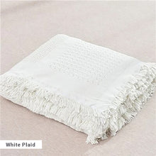 Load image into Gallery viewer, White Sofa Throw Jacquard Knitted Blanket Cotton Bedspread Cover Travel Blanket With Tassels Neutral Color Modern Plain Dyed White Blanket Throw For Sofa