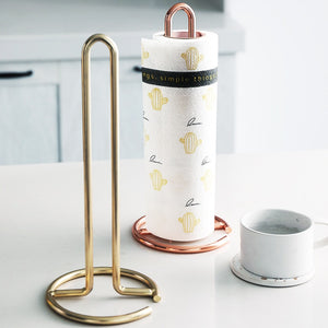 Stainless Steel Kitchen Towel Holder Stand Sturdy Rigid Rack For Mounting Kitchen Paper Roll In Silver Gold Or Rose Gold
