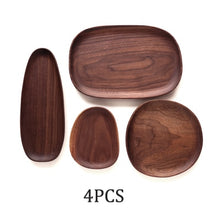 Load image into Gallery viewer, Natural Solid Wood Fruit Plates Abstract Oval Shape Dinner Dessert Wooden Tableware Cake Dish Wood Fruit Bowl Snack Trays