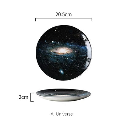 Mysterious Skies Solar System Galaxy Dinner Plates Ceramic Tableware Handcrafted By Artisans Perfect Gift For Sci-Fi Fans