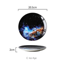 Load image into Gallery viewer, Mysterious Skies Solar System Galaxy Dinner Plates Ceramic Tableware Handcrafted By Artisans Perfect Gift For Sci-Fi Fans