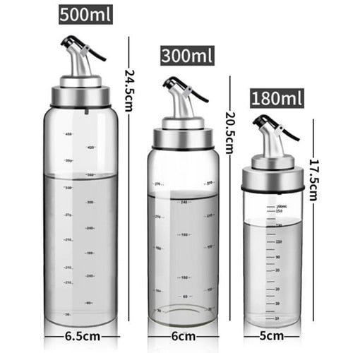 Kitchen Oil Dispenser Bottles For Olive Oil Vinegar Condiments Sauce Storage Glass Bottles With Precision Oil Control Non-Drip Nozzles