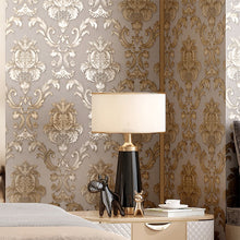 Load image into Gallery viewer, Luxury Gold Damask Wallpaper Textured Embossed Vinyl Wall Covering Classic Home Decor Beige-Grey Background & Gold Motif