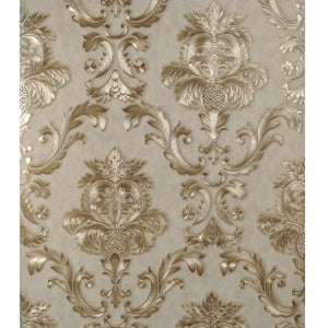 Luxury Gold Damask Wallpaper Textured Embossed Vinyl Wall Covering Classic Home Decor Beige-Grey Background & Gold Motif