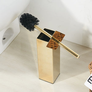 Luxury Brushed Gold Toilet Brush Set Stainless Steel Toilet Bowl Cleaner Brush And Holder Set Gold Silver & Black Bathroom Set