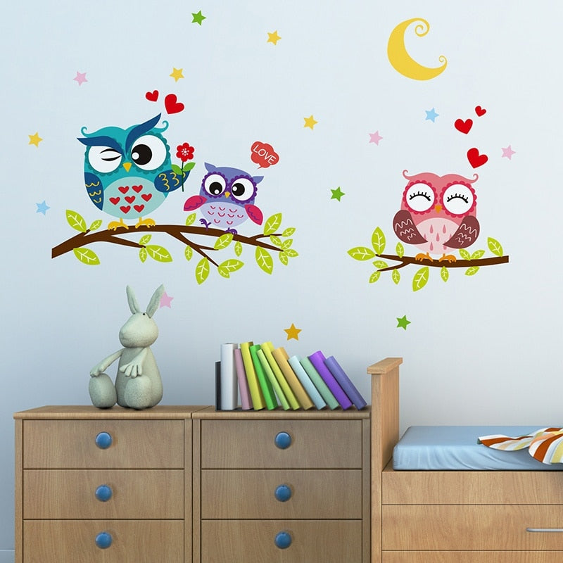 Cute Owls On A Tree Branch Wall Sticker Nursery Removable Wall Decal For Kids Bedroom Baby's Room Cute Nursery Wall Decoration