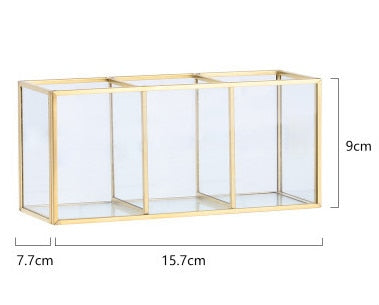 Fashion Glam Desktop Makeup Organizer Glass Storage Box For Cosmetics Jewelry Storage Box Dressing Table Accessories For Girls