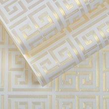 Load image into Gallery viewer, Luxurious Metallic White Gold Greek Tile Wallpaper Modern Roman Geometric Design Vinyl Wall Covering Teal, Black, Silver, Gold