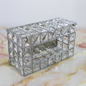 Crystal Rhinestone Tissue Box Gold Silver Elegant Tableware Serviette Dispenser Glam Decor Box For Bedroom Dining Room Restaurant
