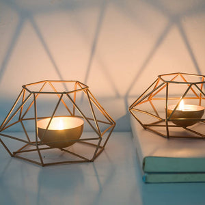 Rose Gold Metal Geometric Tealight Candle Holders Modern Nordic Style Home Decor Angular Metallic Finish Tabletop Tealight Holders