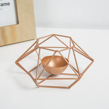 Load image into Gallery viewer, Rose Gold Metal Geometric Tealight Candle Holders Modern Nordic Style Home Decor Angular Metallic Finish Tabletop Tealight Holders