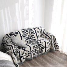 Load image into Gallery viewer, Bohemian Black & White Geometric Sofa Blanket Throws Simple Cotton Bedspread Sofa Cover Knitted Blanket For Bed Travel Blanket