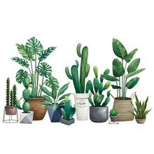 Load image into Gallery viewer, Nordic Style House Plants Wall Decal Self Adhesive DIY Wall Sticker Cactus Monstera Palms Green Leaves Wall Decor For Kitchen Living Room