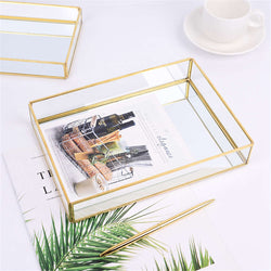 Glass & Brass Geometric Square Tray Nordic Style Geometric Design Makeup Storage Tray Metal Jewelry Display Box Glam Home Decor