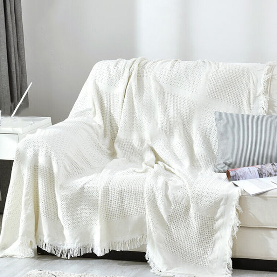 White Sofa Throw Jacquard Knitted Blanket Cotton Bedspread Cover Travel Blanket With Tassels Neutral Color Modern Plain Dyed White Blanket Throw For Sofa