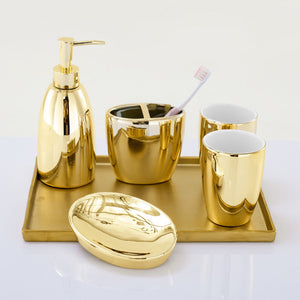 Gold Ceramic Bathroom Accessories Set Liquid Soap Dispenser Toothbrush Pot Mouthwash Cup Soap Dish 5 Piece Set + Gold Tray