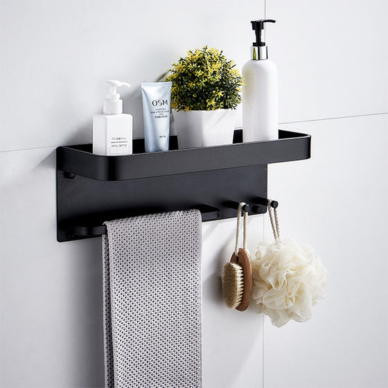 Aluminium Bathroom Shelf Rounded Square Shower Accessory Rack Bath Shower Shelf With Towel Hooks Rail Bathroom Organizer Rack