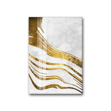 Load image into Gallery viewer, Golden Swirls Modern Abstract Wall Art White Gold Fine Art Canvas Prints Contemporary Art Decor Pictures For Bedroom Living Room Modern Interiors