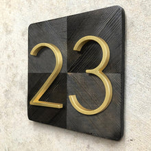 Load image into Gallery viewer, Modern Golden House Numbers 125mm / 5inch Floating Or Flush Mounted Outdoor Signage Satin Brass Numerals For Front Door Numbers #0-9