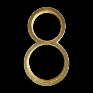 Modern Golden House Numbers 125mm / 5inch Floating Or Flush Mounted Outdoor Signage Satin Brass Numerals For Front Door Numbers #0-9