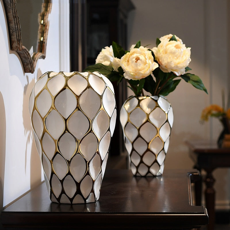 Contemporary Geometric Design White Ceramic Vase For Dining Room Table House Boutique